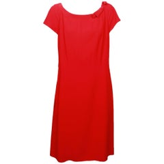 Moschino Red Shift Dress with Bow Detail