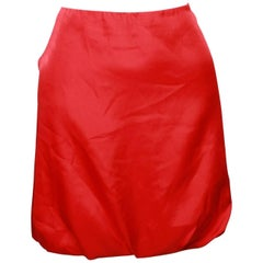 Alexander Mcqueen  Full Zipper Back Red Bubble Skirt