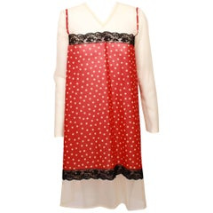 Jean Paul Gaultier Red and Cream Polka dot Tie Back V-Neck Dress / Tunic