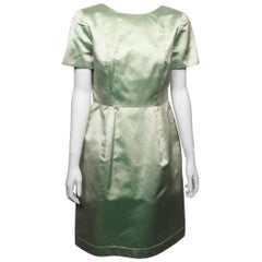 Oscar De La Renta Mint Green Silk Satin Dress