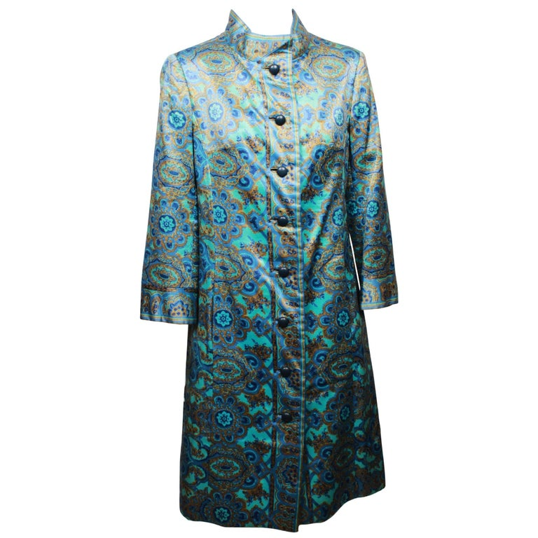 Christian Dior Stained Glass Floral and Paisley Print Silk Evening Coat, 1960s  For Sale