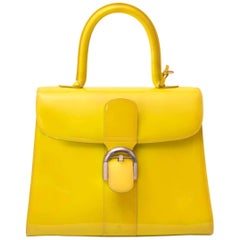 Delvaux Limited Patent Fluorescent Yellow Brillant closure Bag