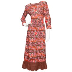 A 1970s Vintage Lanvin Floral Wool Peasant Dress