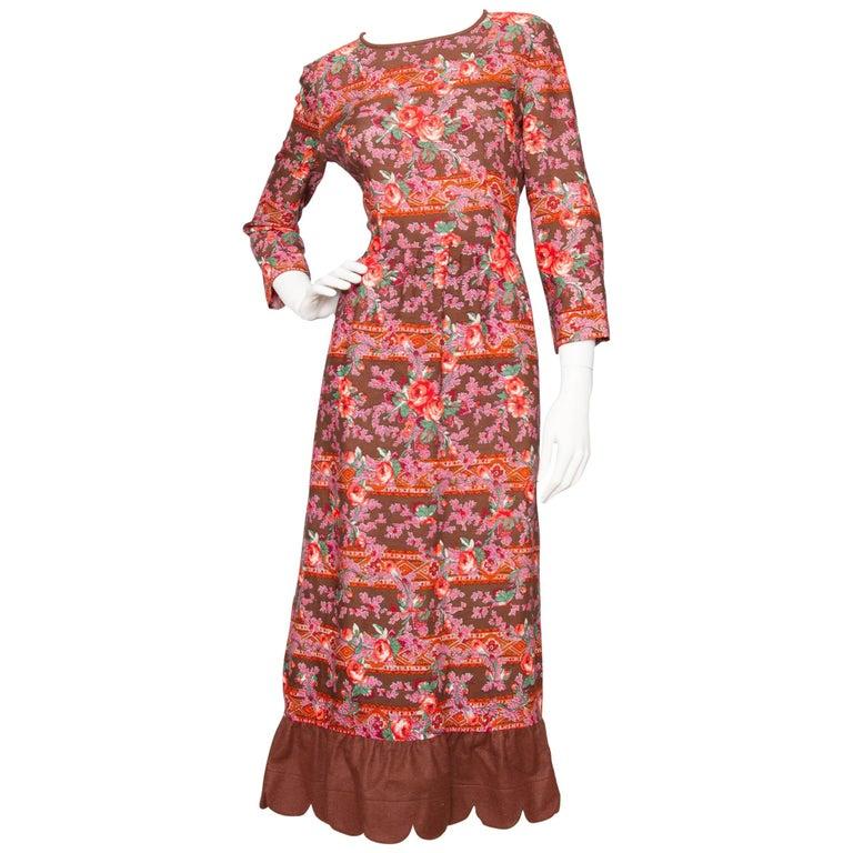 A 1970s Vintage Lanvin Floral Wool Peasant Dress
