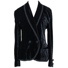 Escada Black Crushed Velvet Jacket Blazer with Passementerie Border, 1980s