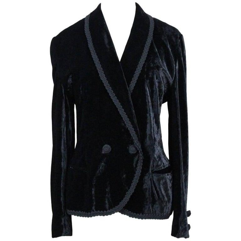 Escada Black Crushed Velvet Jacket Blazer with Passementerie Border, 1980s