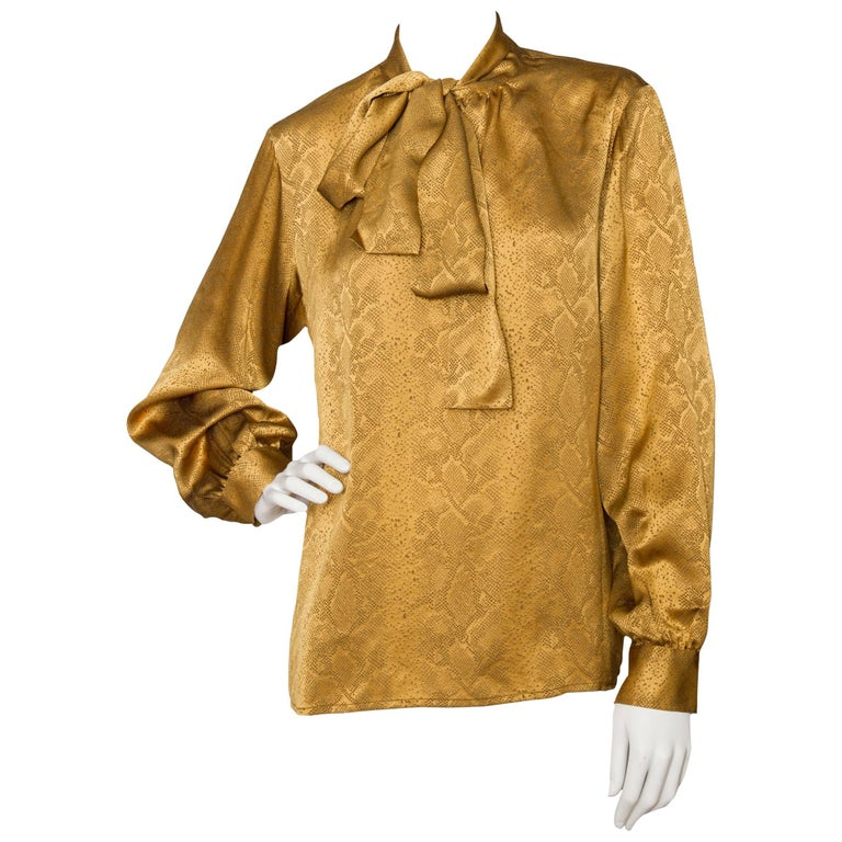 A  Vintage Yves Saint Laurent Gold Python Print Bow Collar Silk Blouse For Sale