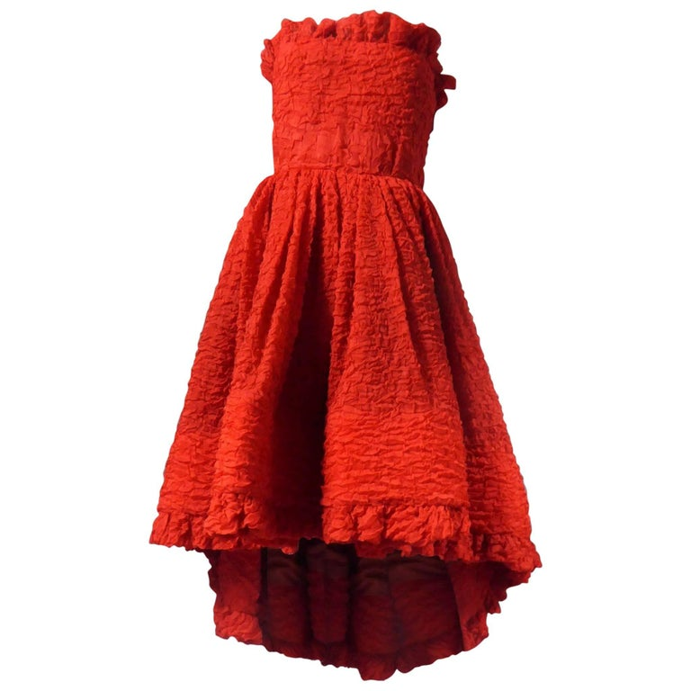 Pierre Cardin Haute Couture Red Silk strapless cocktail dress, Circa 1980 For Sale