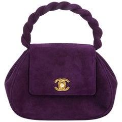 Chanel Vintage Purple Suede Mini Evening Bag
