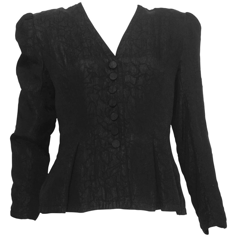 Adele Simpson 1980s Black Silk Jacquard Button Up Jacket Size 8.