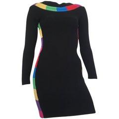 Patrick Kelly 1980s Black Wool Knit 'Rainbow' Mini Dress Size 4.