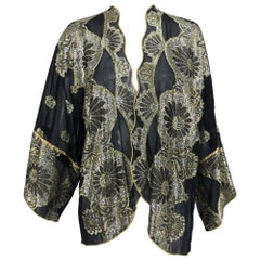 Vintage black chiffon silver and gold metallic kimono jacket 1970s