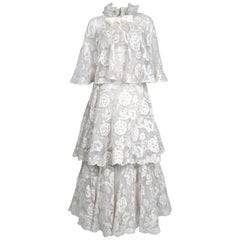 1968 Arnold Scaasi Couture White Embroidered Lace Strapless Tiered Gown & Cape
