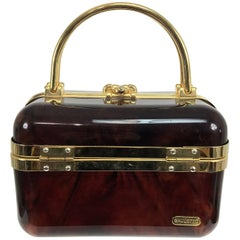Baulotto Italy faux tortoise shell box bag with gold hardware 1970s