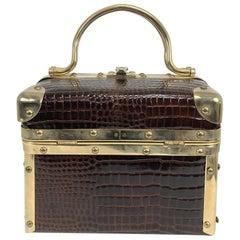 Borsa Bella Italy embossed crocodile box bag 1970s