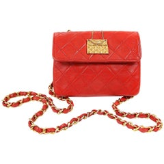 Chanel Red Leather Vintage Mini Classic Bag