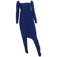 Norma Kamali OMO Blue Ruching Harem Jumpsuit Size 4.