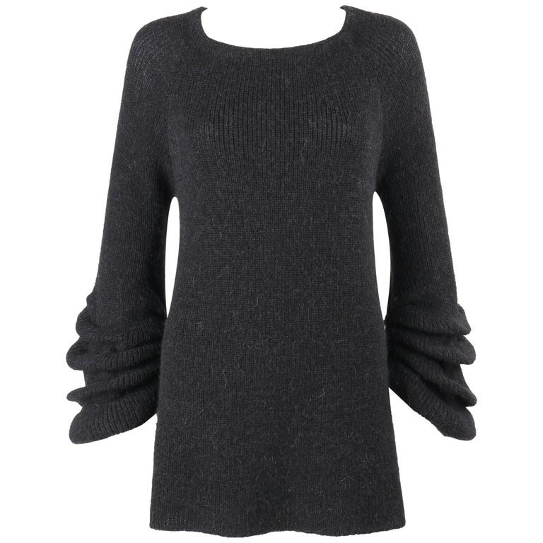 VALENTINO A/W 2008 Charcoal Gray Wool Alpaca Knit Pleated Bell Sleeve Sweater