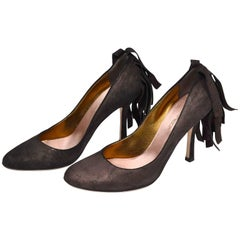 Dsquared2 Shoes in Brown Suede With Wide Fringe on Heels Size 38.5