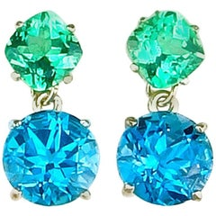 Unique 2.58 Carat Apatite & 9.6 Carat Blue Topaz Sterling Silver Stud Earrings