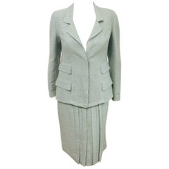 Chanel Teal Wool Skirt Suit