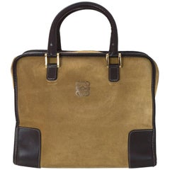 Loewe Beige Gold Suede & Brown Leather Amazona 28 Handle Bag