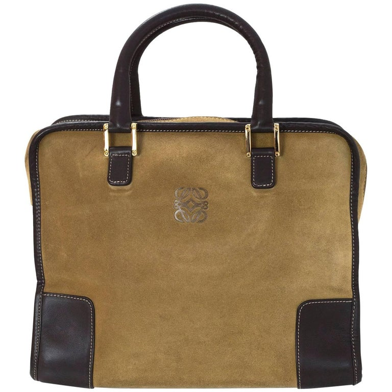 Loewe Beige Gold Suede & Brown Leather Amazona 28 Handle Bag