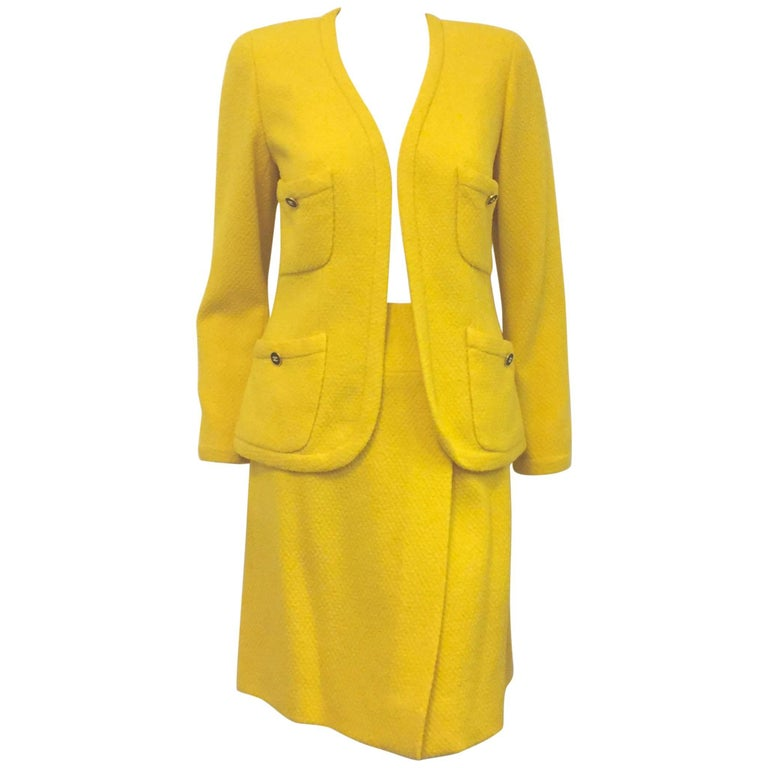Charming Chanel Sunshine Yellow Open Jacket & Wrap Skirt w/ Gold Tone Buttons