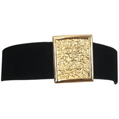 Christian Dior Black Velvet with Gold Buckle Waist Belt Size M/L