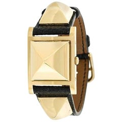 1990 Black Leather Hermes Medor Analog Watch