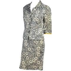 Bullocks Wilshire 1960s Skirt Suit in Floral Linen Print W Marigold Yellow Trim