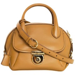 Salvatore Ferragamo Camel Leather Mini Fiamma Crossbody Bag rt. $1,750