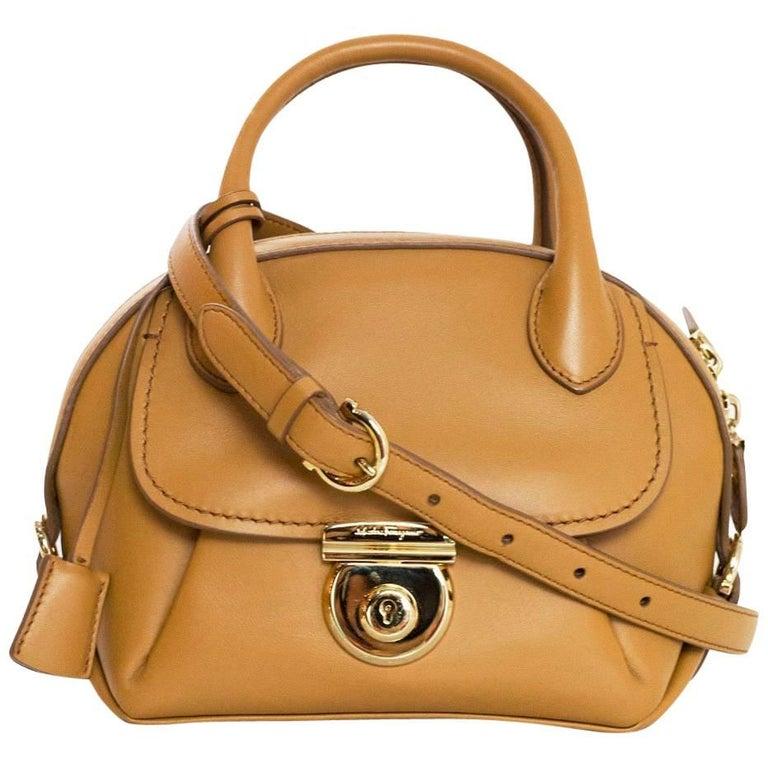 dc88e7fbd75b Salvatore Ferragamo Camel Leather Mini Fiamma Crossbody Bag rt ...