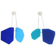 Blue Molecule Post Earrings