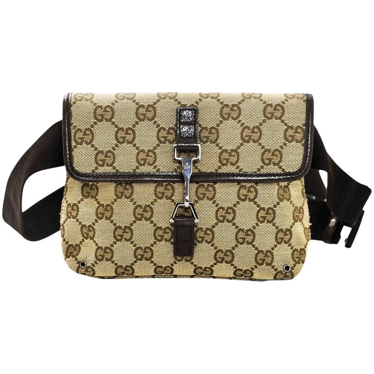 34bb2db0abfe Gucci Brown Monogram Canvas Waist Pouch/Belt Bag For Sale at 1stdibs