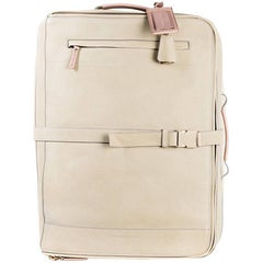 Brunello Cucinelli Men's Beige Leather Trolley Suitcase Bag