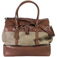 Brunello Cucinelli Mens Grey Brown Suede Leather Large Travel Bag