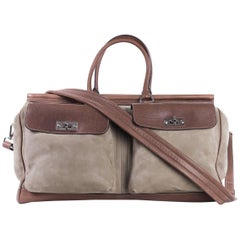 Brunello Cucinelli Men's Beige and Brown Leather Travel Bag