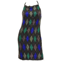 Bob Mackie Beaded Black Blue and Green Diamond Cocktail Dress Size 6, 1990s