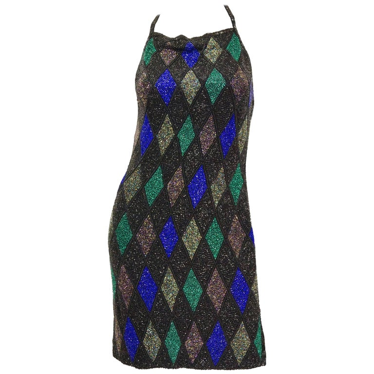 Bob Mackie Beaded Black Blue and Green Diamond Cocktail Dress Size 6, 1990s For Sale