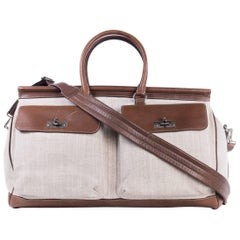 Brunello Cucinelli Men's Canvas and Brown Leather Travel Bag