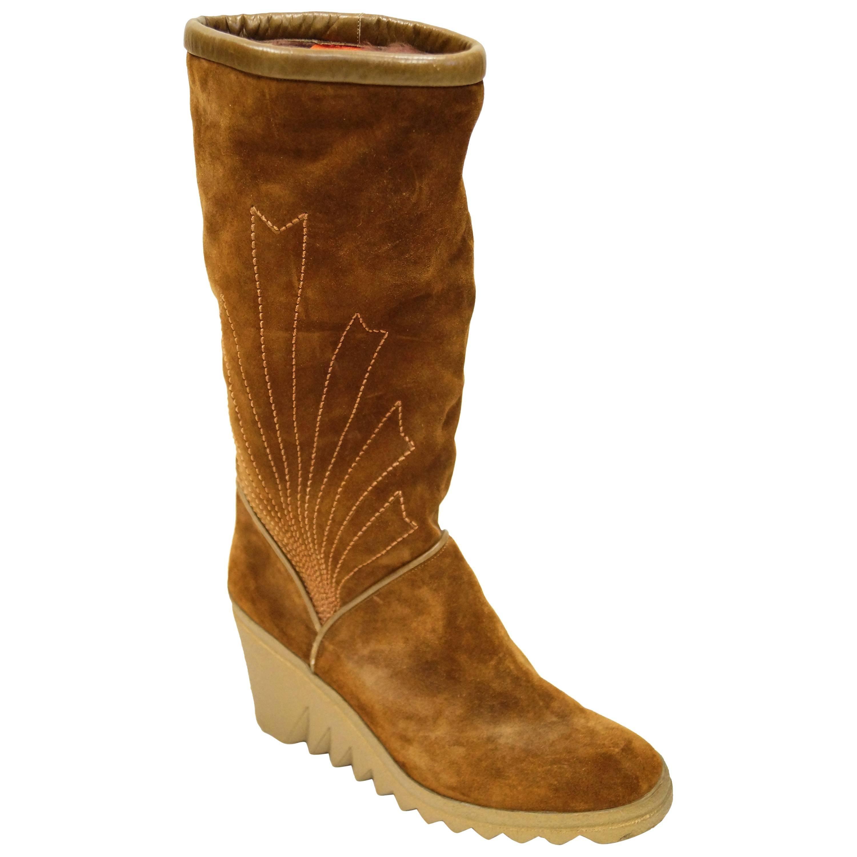 Charles Jourdan Vintage Chestnut Suede Wedge Sunrise Stitch Boots, Size 8 1/2