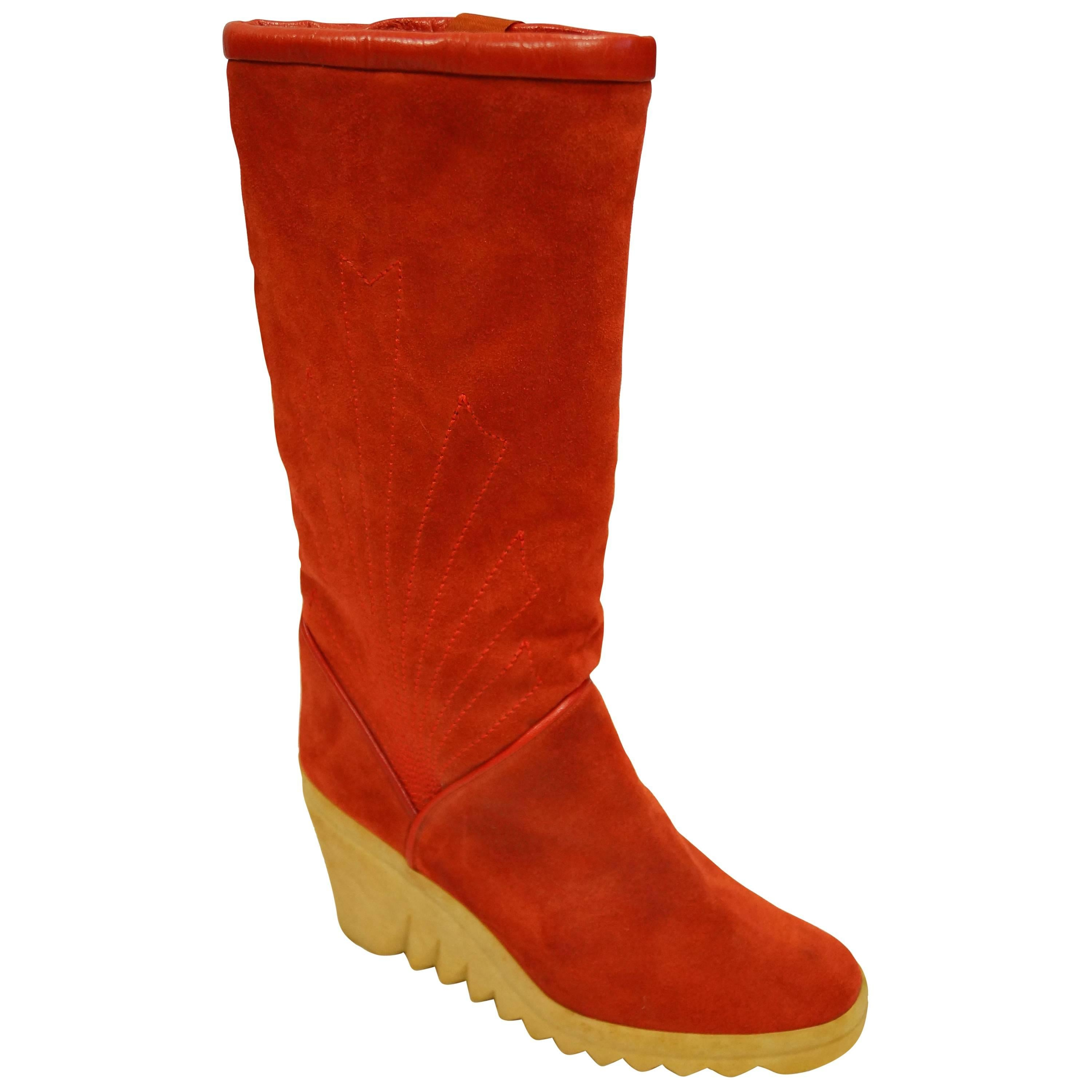 Charles Jourdan Red Suede Wedge Sunrise Stitch Boots, 1970s
