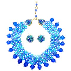 1960s Coppola e Toppo Blue Woven Crystal Necklace and Earrings