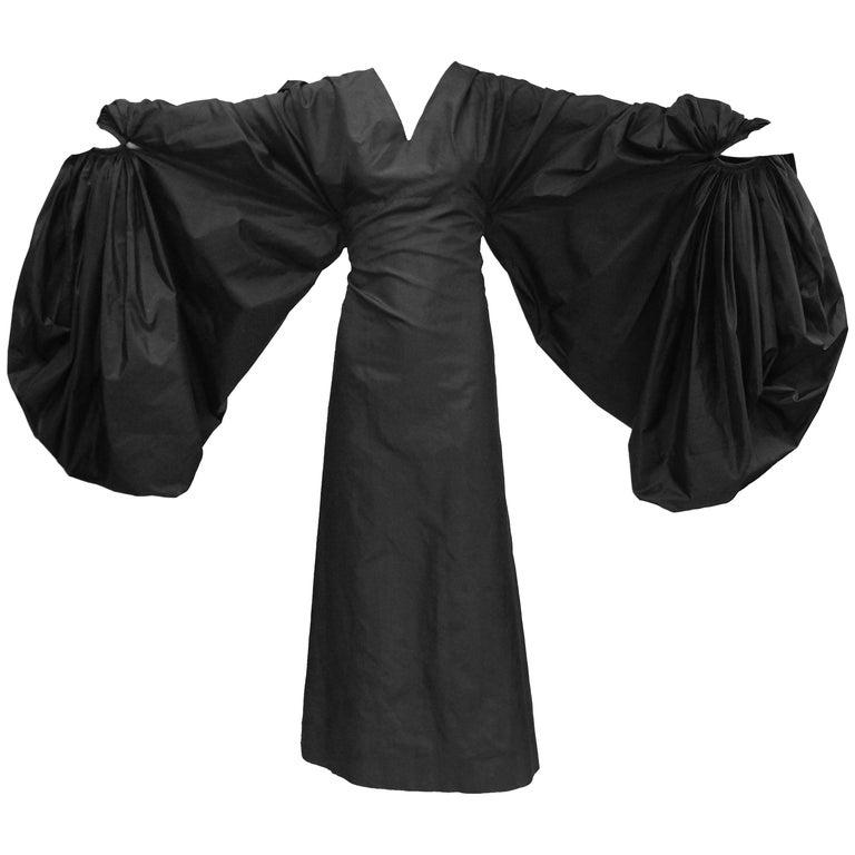 "Madame Grès Black Haute Couture Silk ""Heavenly Bodies"" Dress, 1960s  For Sale"