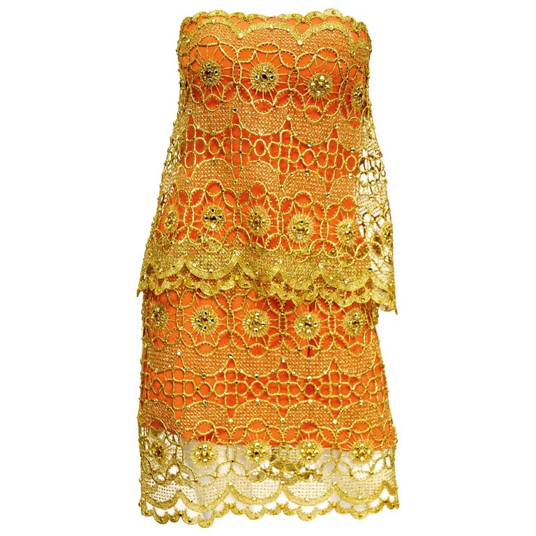Bob Mackie Tangerine Gold Lace and Rhinestone Cocktail Dress,  1990s