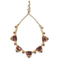 1960s Elsa Schiaparelli Iridescent Pink Rhinestone Necklace