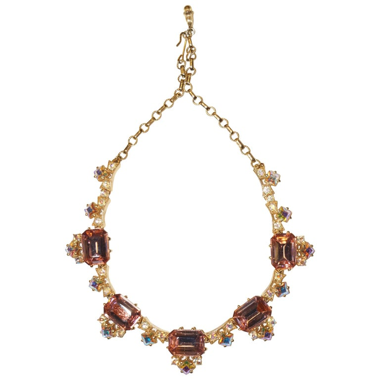 1960s Elsa Schiaparelli Iridescent Pink Rhinestone Necklace  For Sale