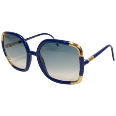 Ted Lapidus Sunglasses Framed in Royal Blue and Gold, 1970s