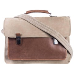 Brunello Cucinelli Men's Beige Suede Messenger Bag